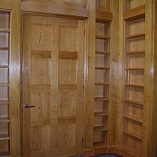 oak door and library shelving unit
