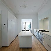 White lacquer kitchen with flush fitting cabinetry